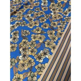 Polüestervooder sinine lilledega